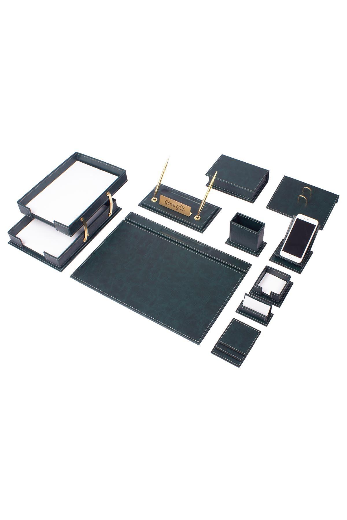 Vega Leather Desk Set Green 14 Accessories