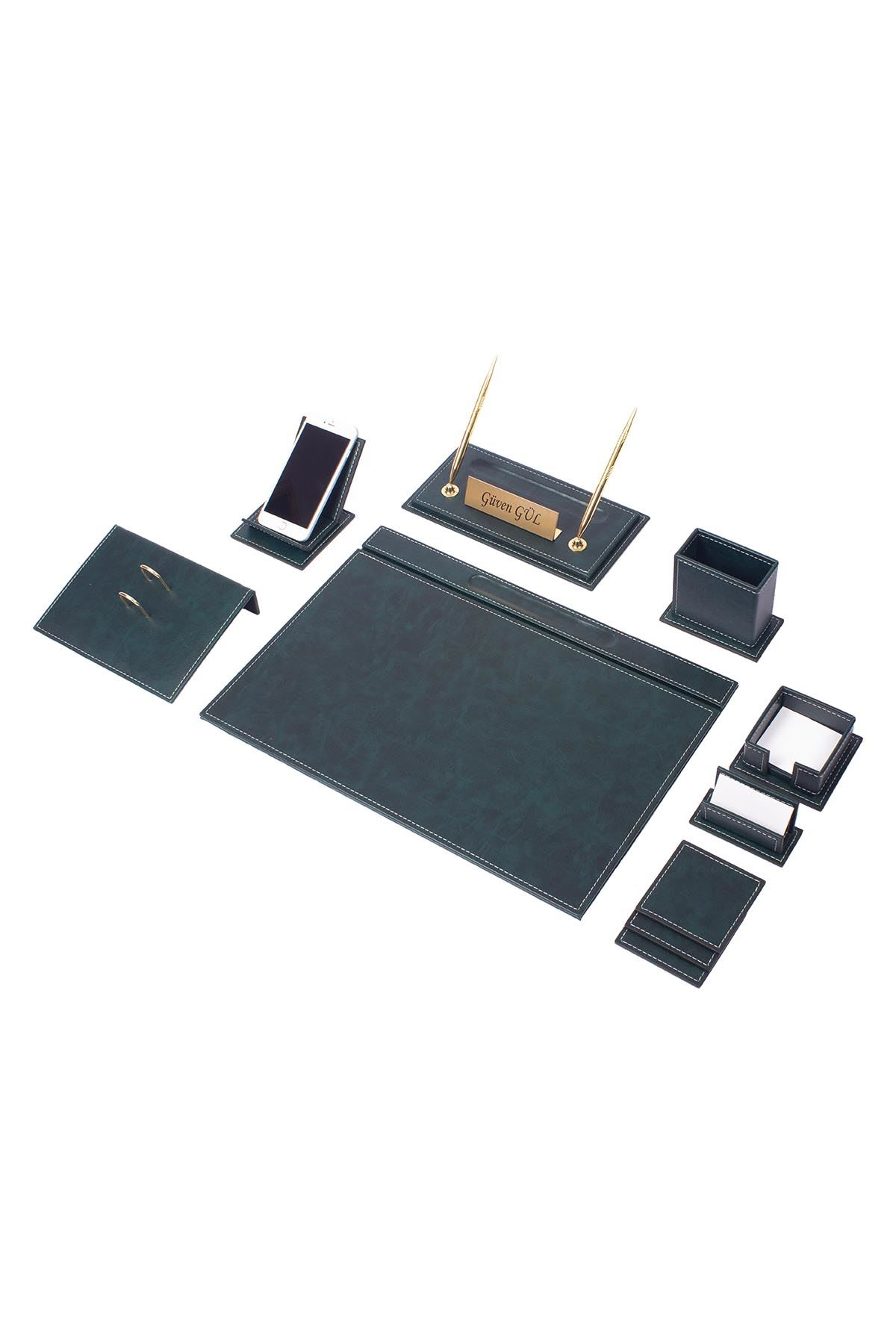 Vega Leather Desk Set Green 12 Accessories
