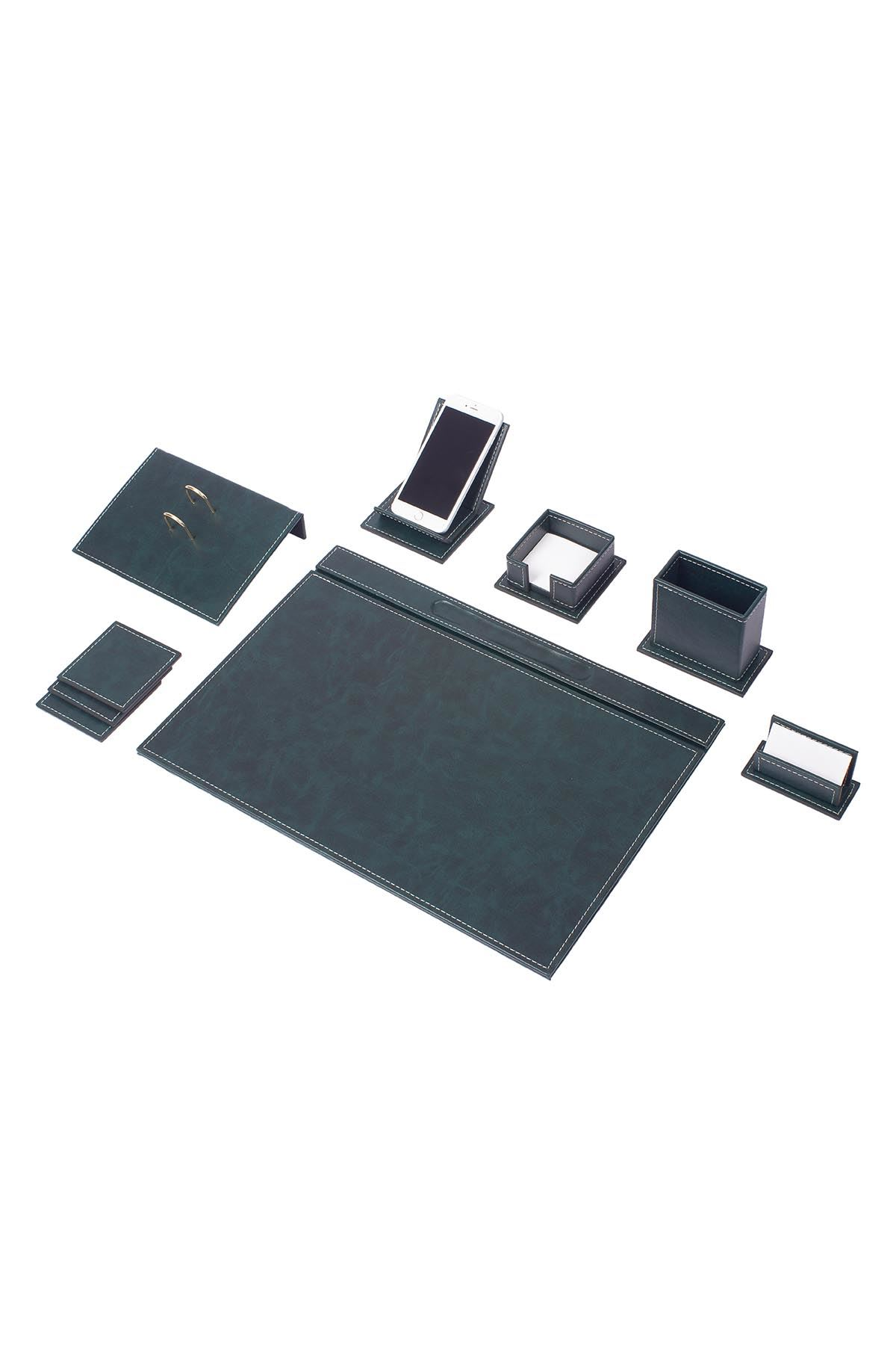 Vega Leather Desk Set Green 9 Accessories