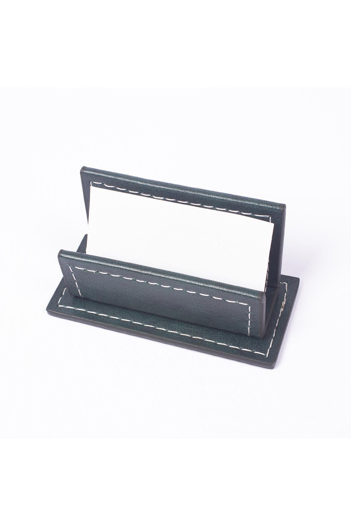 Vega Leather Desk Set Green 4 Accessories