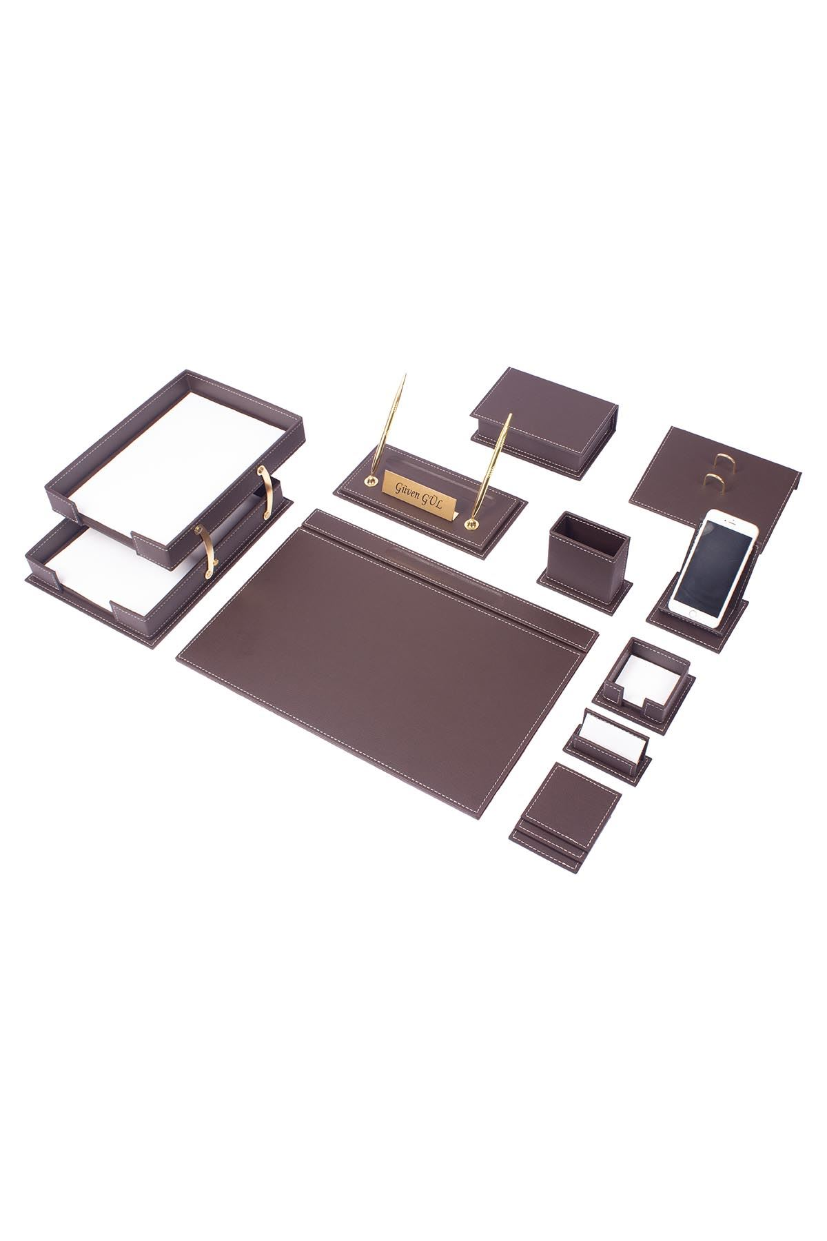 Vega Leather Desk Set Brown 14 Accessories
