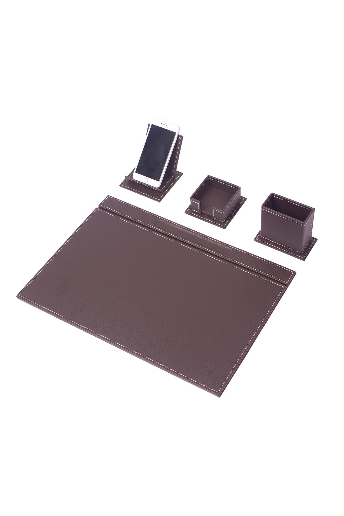 Vega Leather Desk Set Brown 4 Accessories