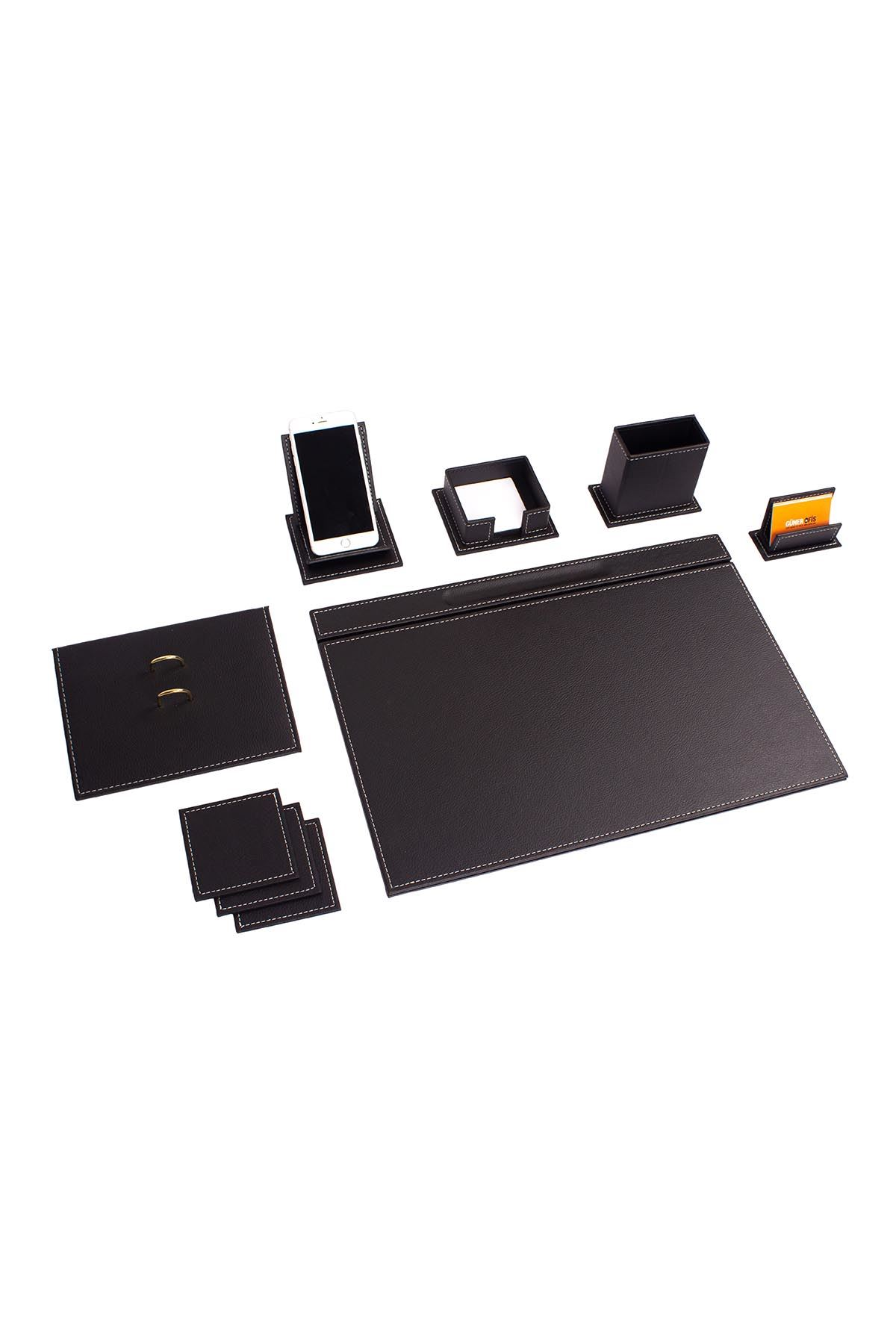 Vega Leather Desk Set Black 9 Accessories