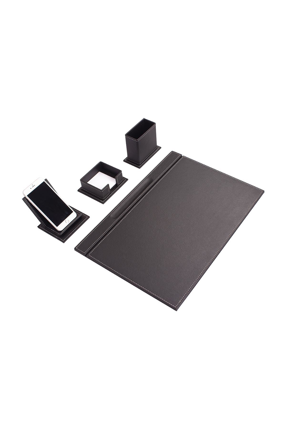 Vega Leather Desk Set Black 4 Accessories