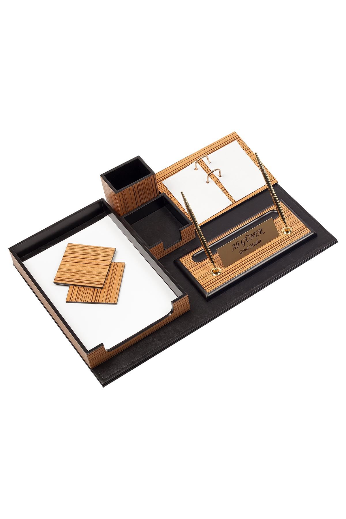 Wooden Desk Set Zebrano 10 Accessories