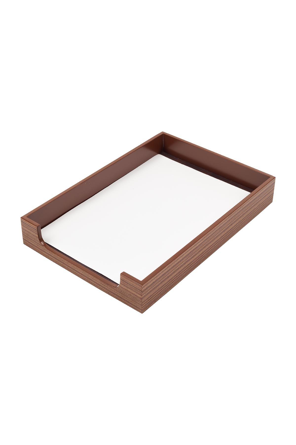 Wooden Desk Set Walnut 10 Accessories