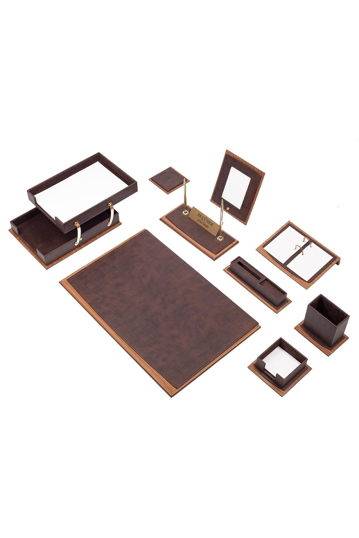 Star Lux Leather Desk Set Brown 11 Accessories