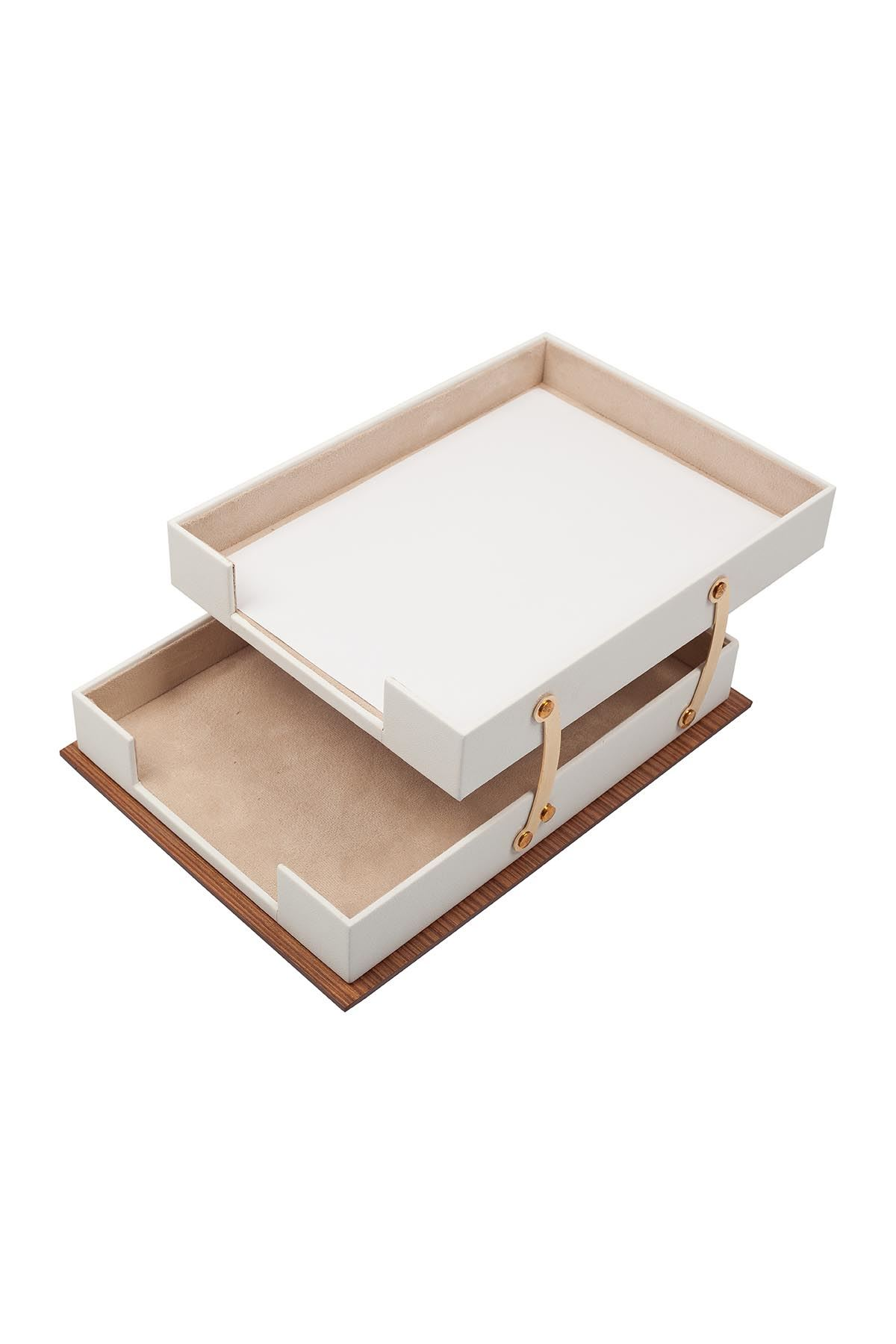 Star Lux Leather Desk Set White 11 Accessories