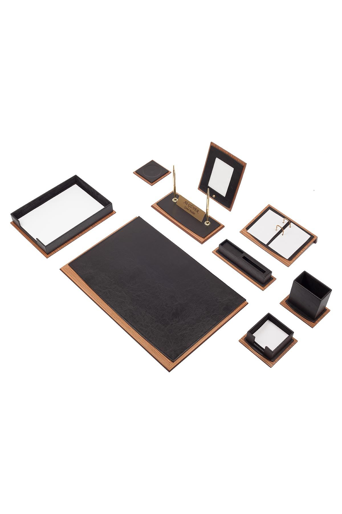 Star Lux Leather Desk Set Black 11 Accessories