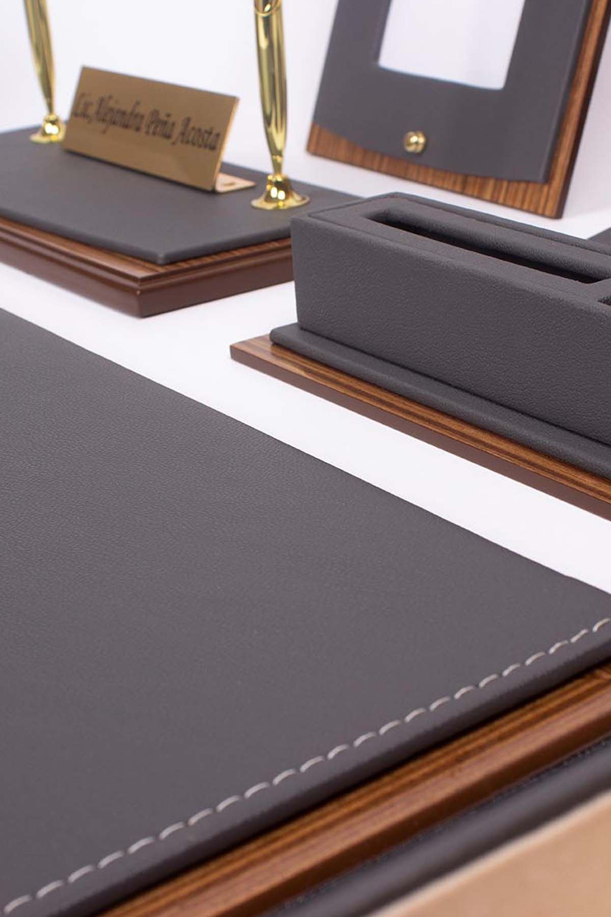Star Lux Leather Desk Set Gray 10 Accessories