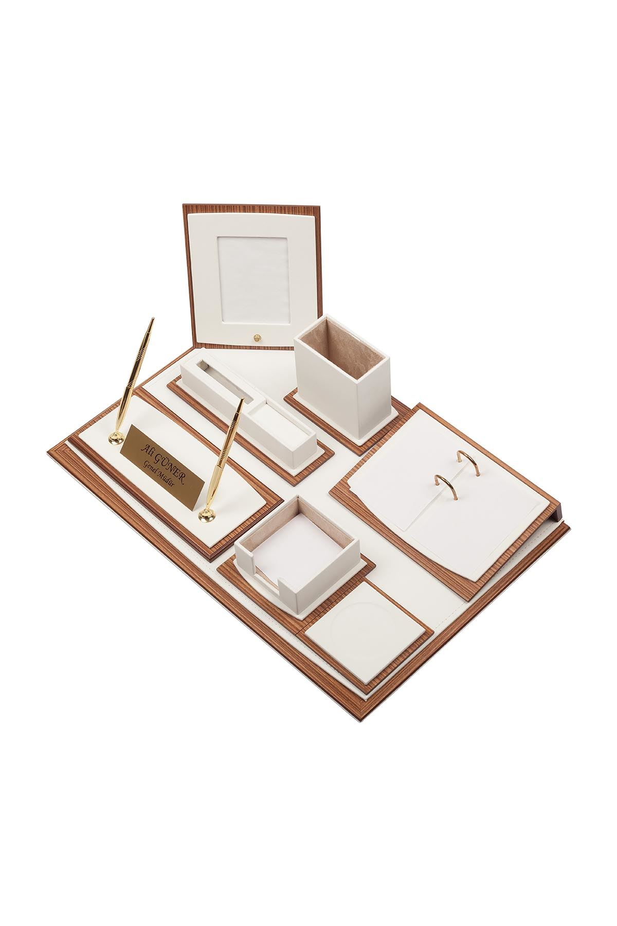 Star Lux Leather Desk Set White 10 Accessories