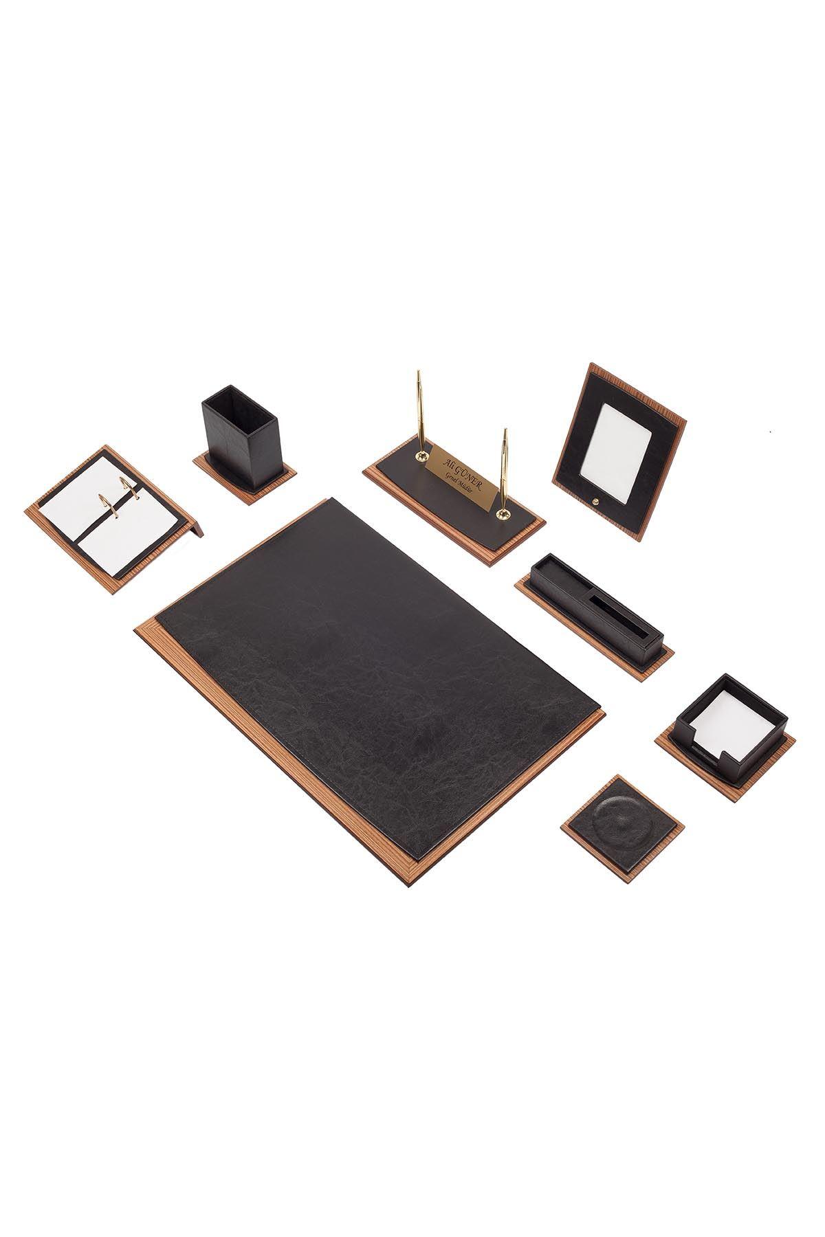 Star Lux Leather Desk Set Black 10 Accessories