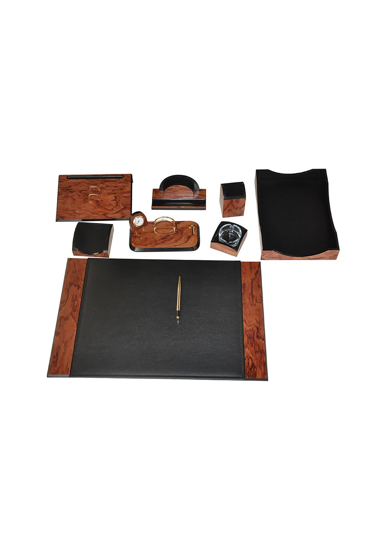 Wooden Karizma Desk Set Rose Black 9 Accessories
