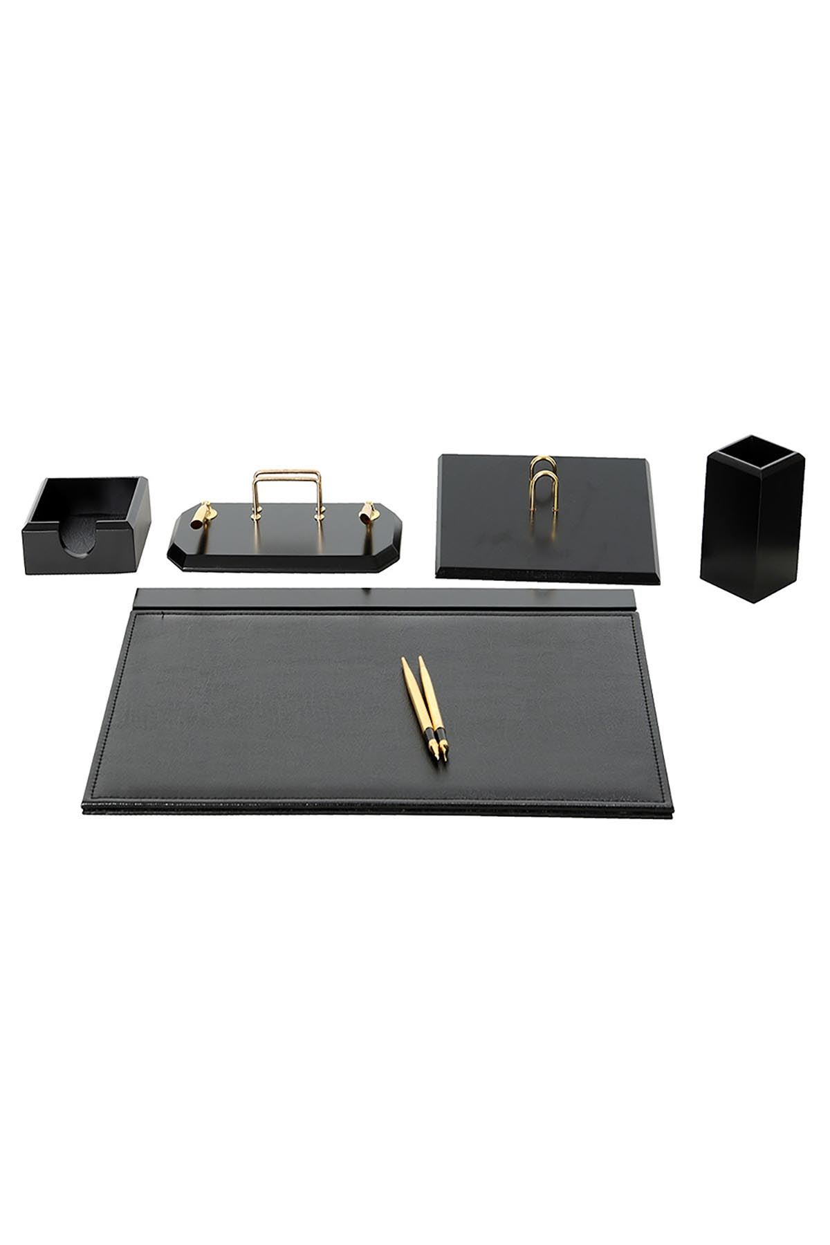 Wooden Flash Desk Set Black 6 Accessories