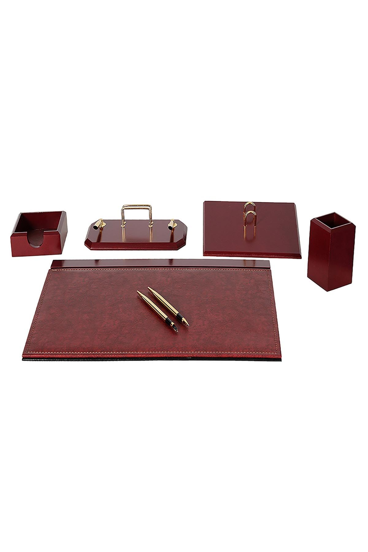 Wooden Flash Desk Set Claret 6 Accessories