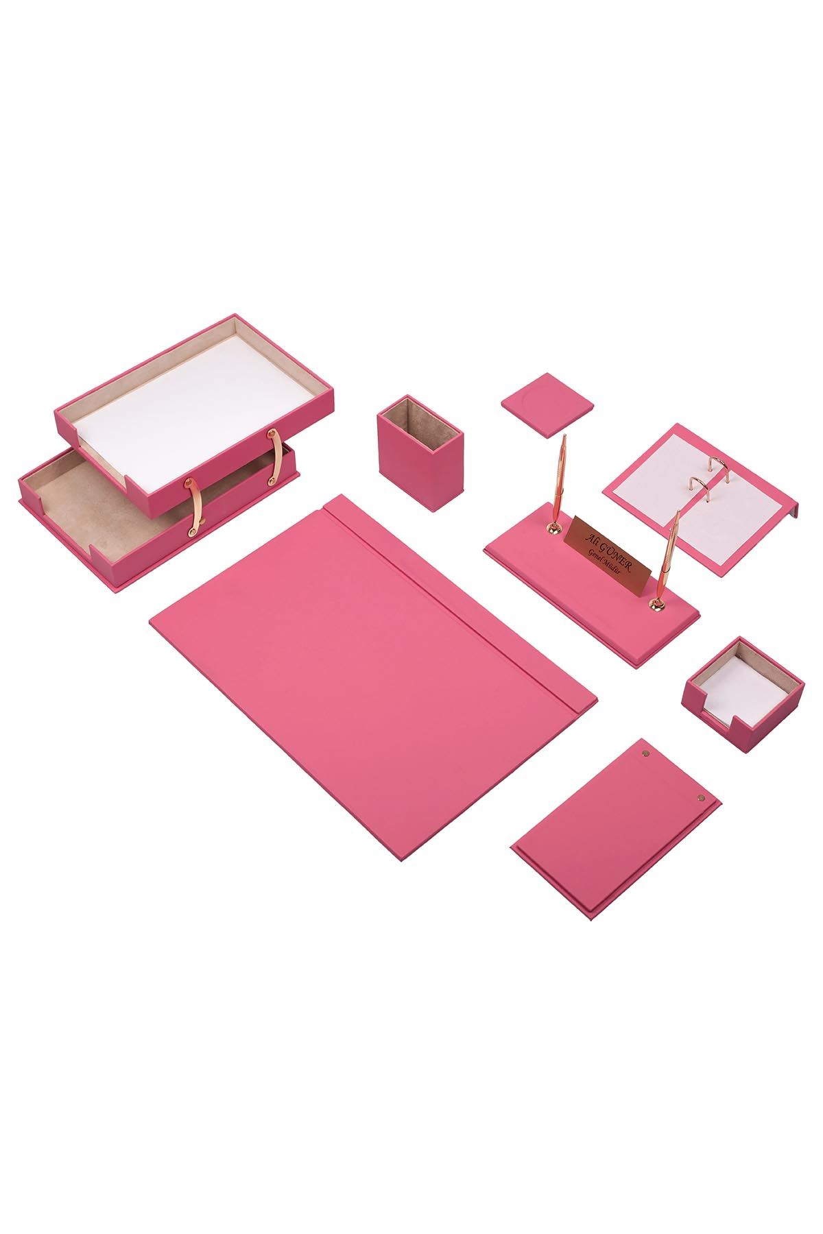 Luxury Leather Desk Set Pink 10 Accessories - Double Document Tray