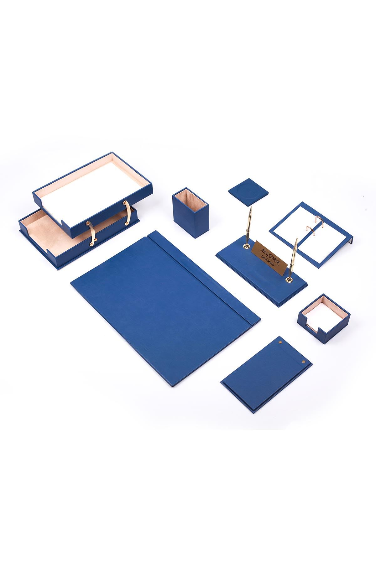 Luxury Leather Desk Set Blue 10 Accessories - Double Document Tray