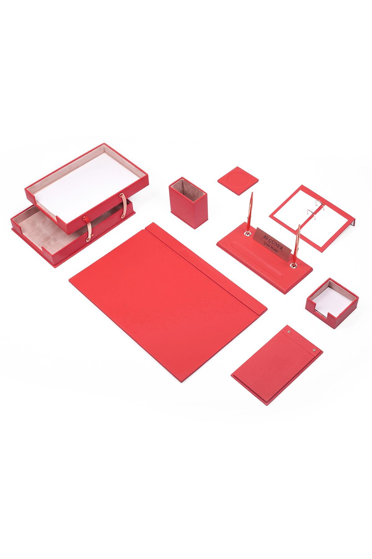 Luxury Leather Desk Set Red 10 Accessories - Double Document Tray