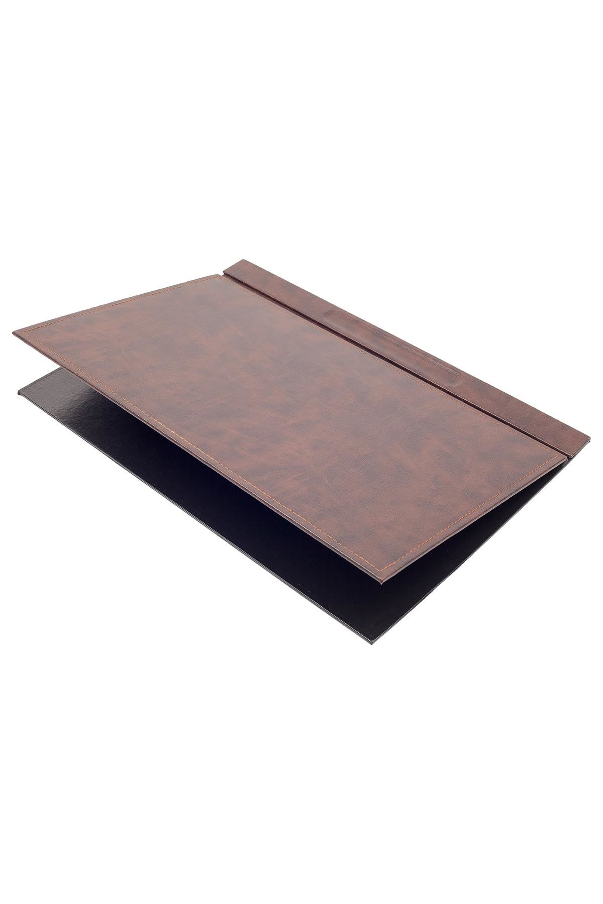Luxury Leather Desk Set Brown 10 Accessories - Double Document Tray