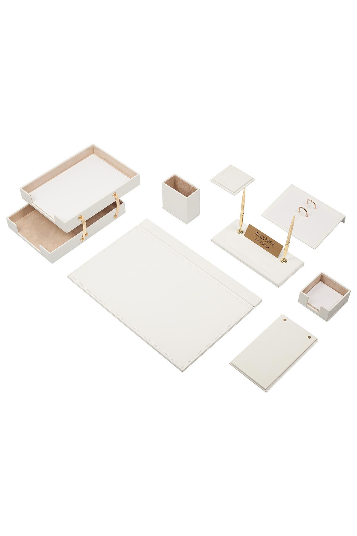 Luxury Leather Desk Set White 10 Accessories - Double Document Tray