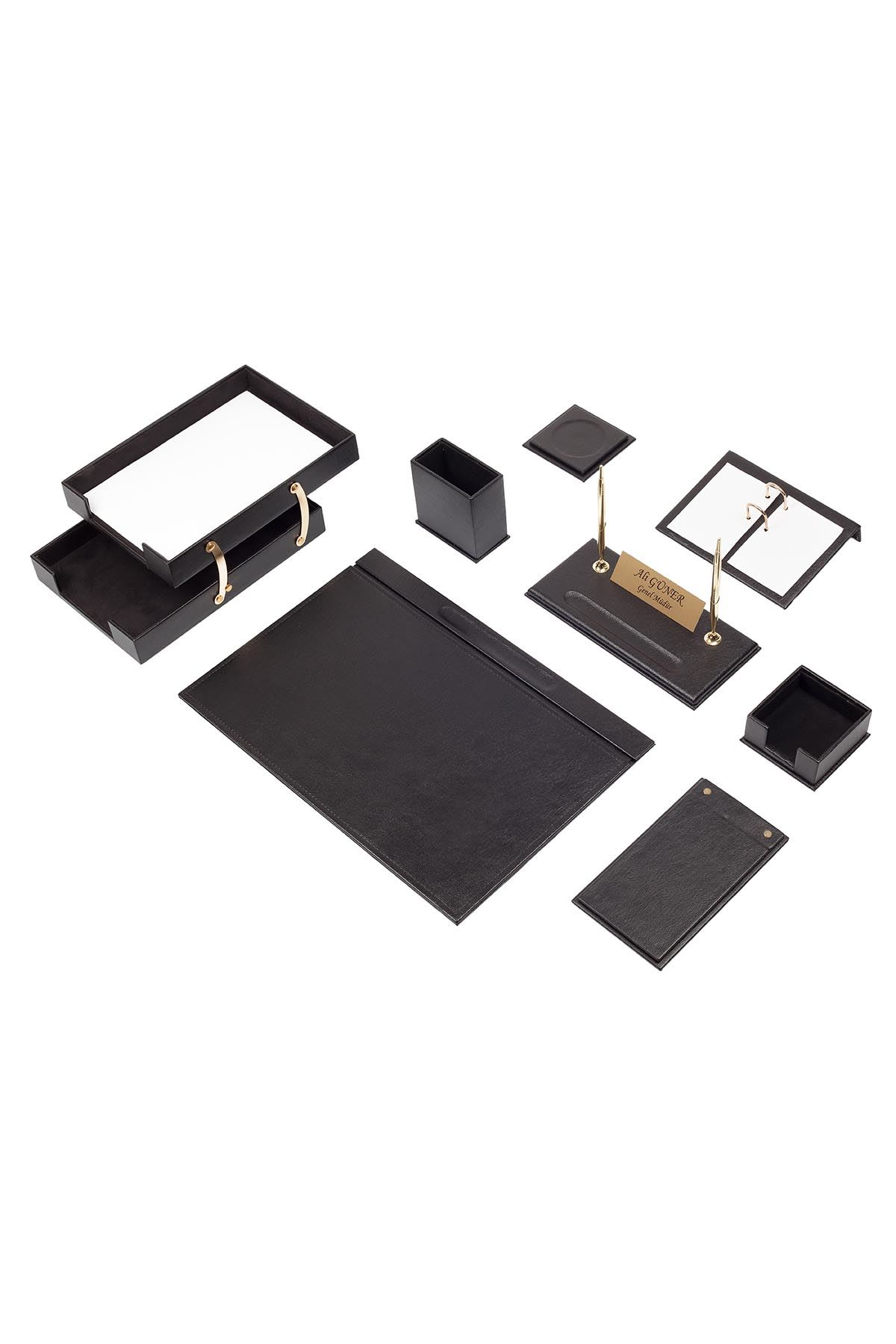 Luxury Leather Desk Set Black 10 Accessories - Double Document Tray