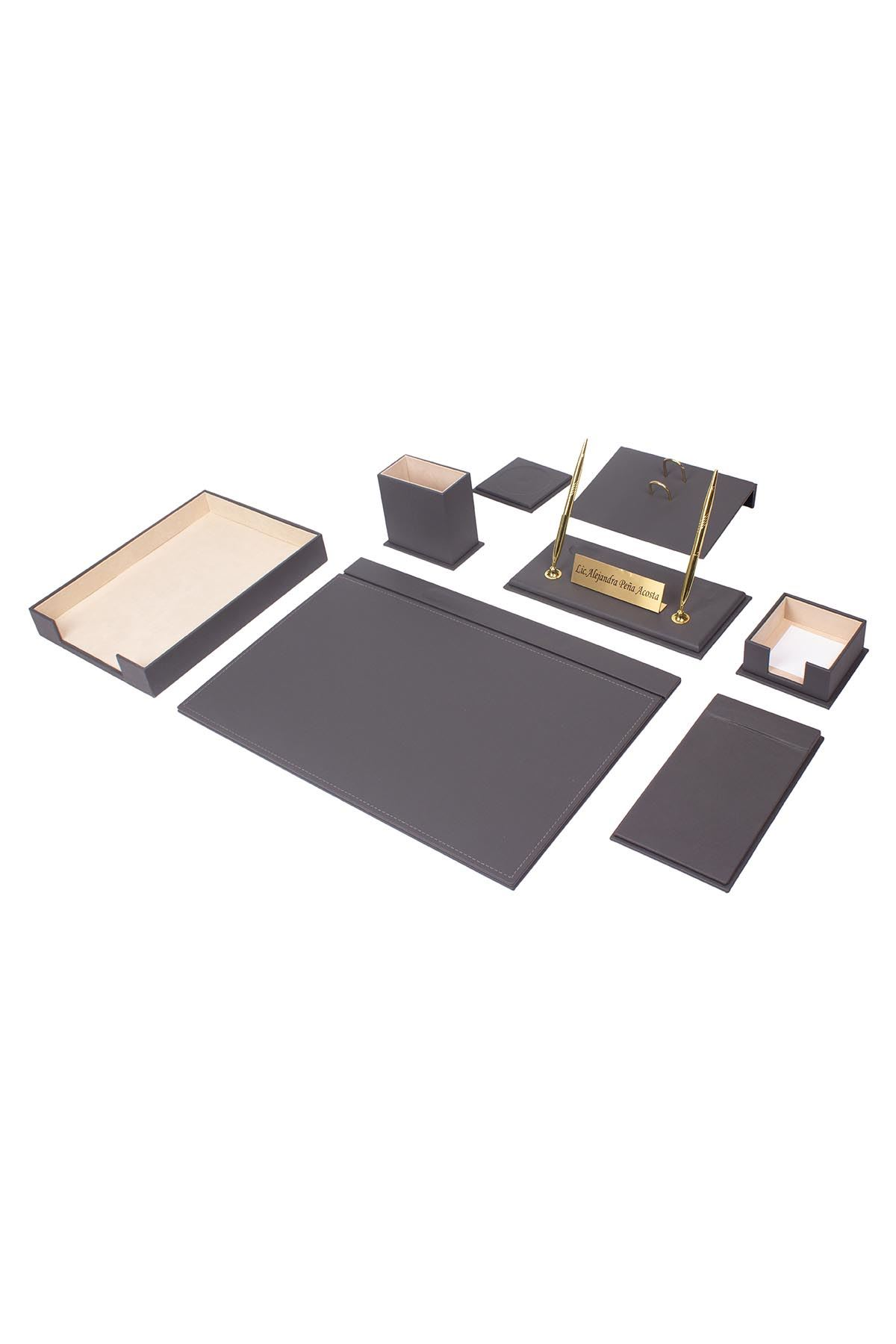 Leather Desk Organizer 10 Accessories Gray