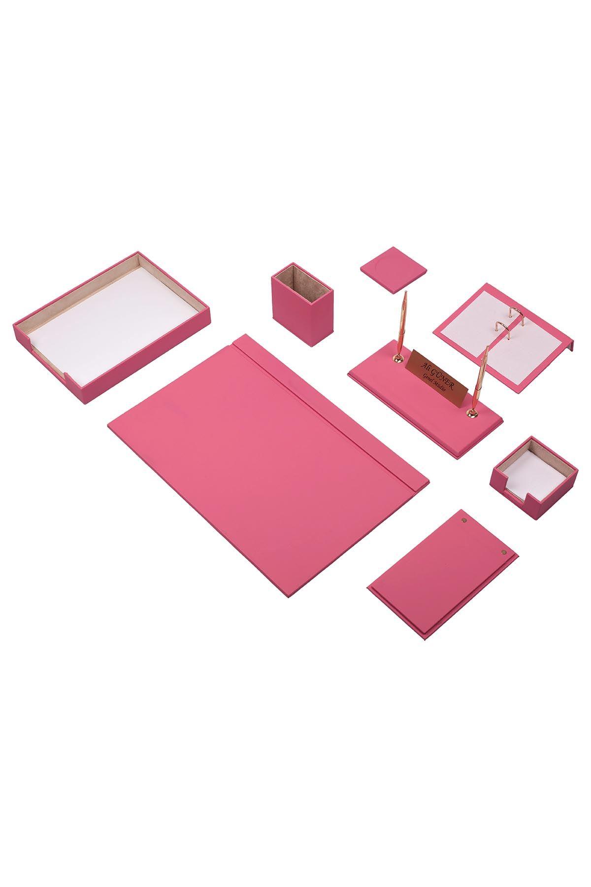 Leather Desk Organizer 10 Accessories Pink
