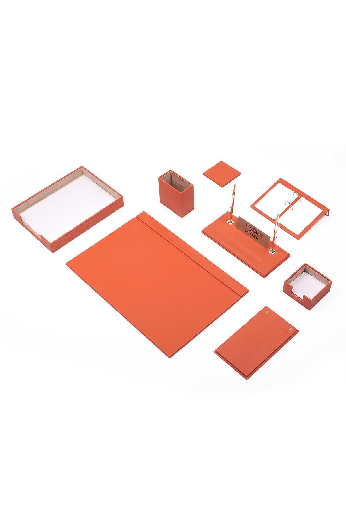 Leather Desk Organizer 10 Accessories Orange