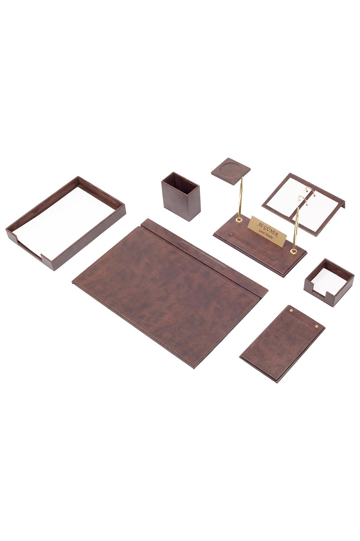 Leather Desk Organizer 10 Accessories Brown