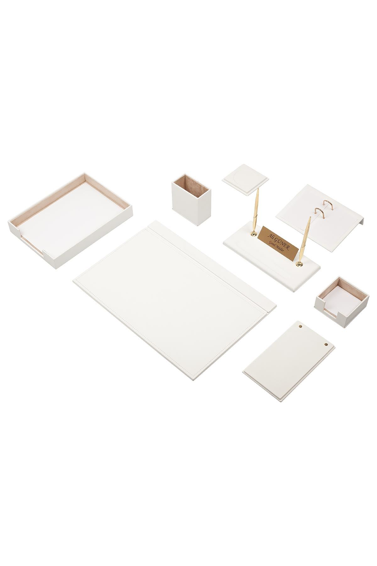 Leather Desk Organizer 10 Accessories White