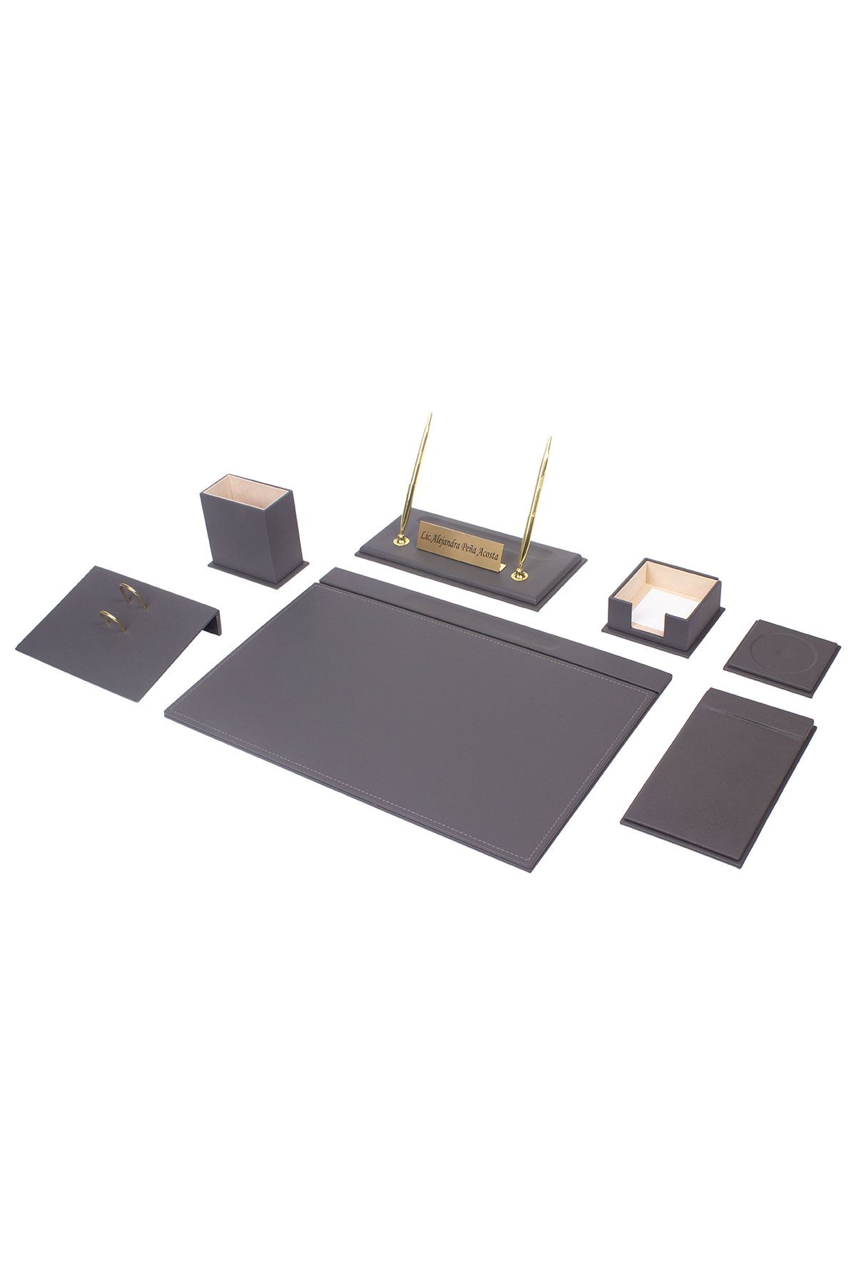 Leather Desk Set 9 Accessories Gray