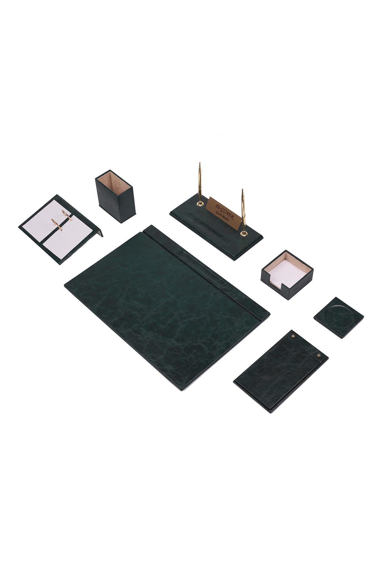 Leather Desk Set 9 Accessories Green