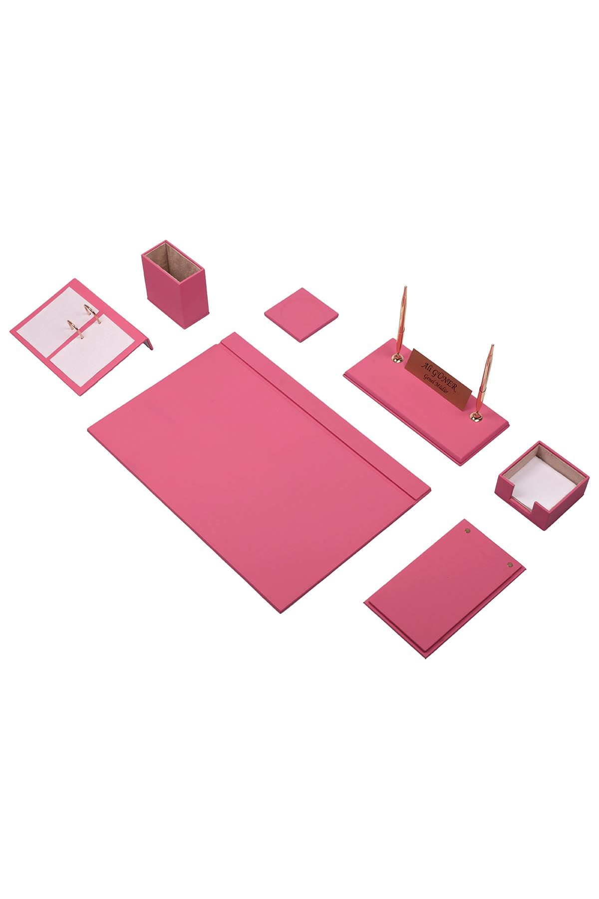 Leather Desk Set 9 Accessories Pink