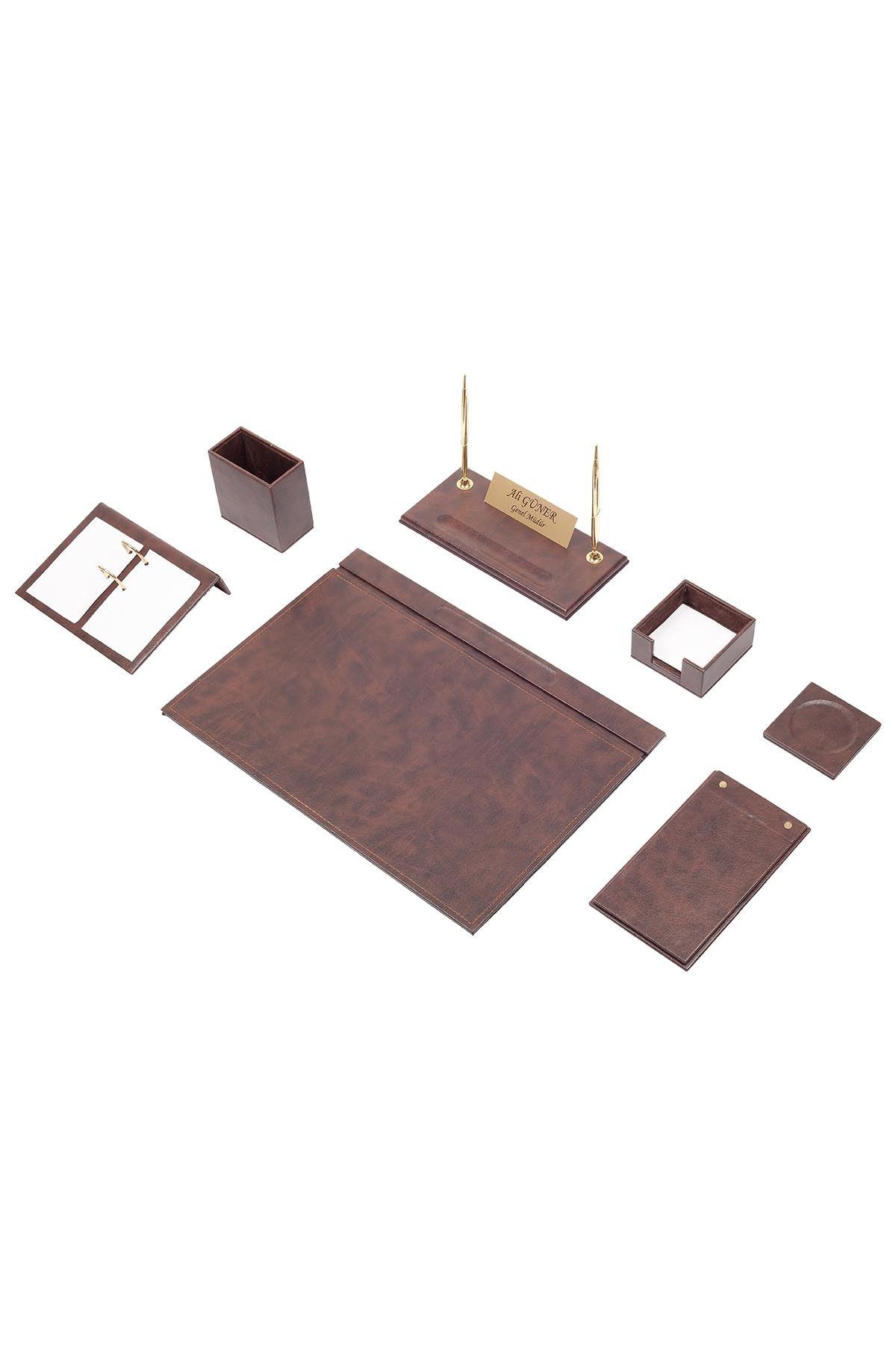 Leather Desk Set 9 Accessories Brown