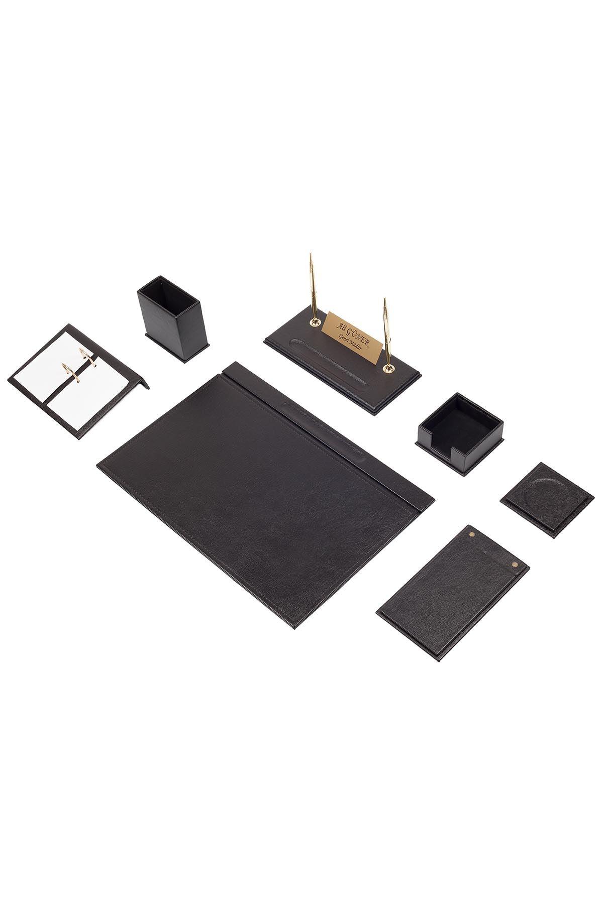 Leather Desk Set 9 Accessories Black