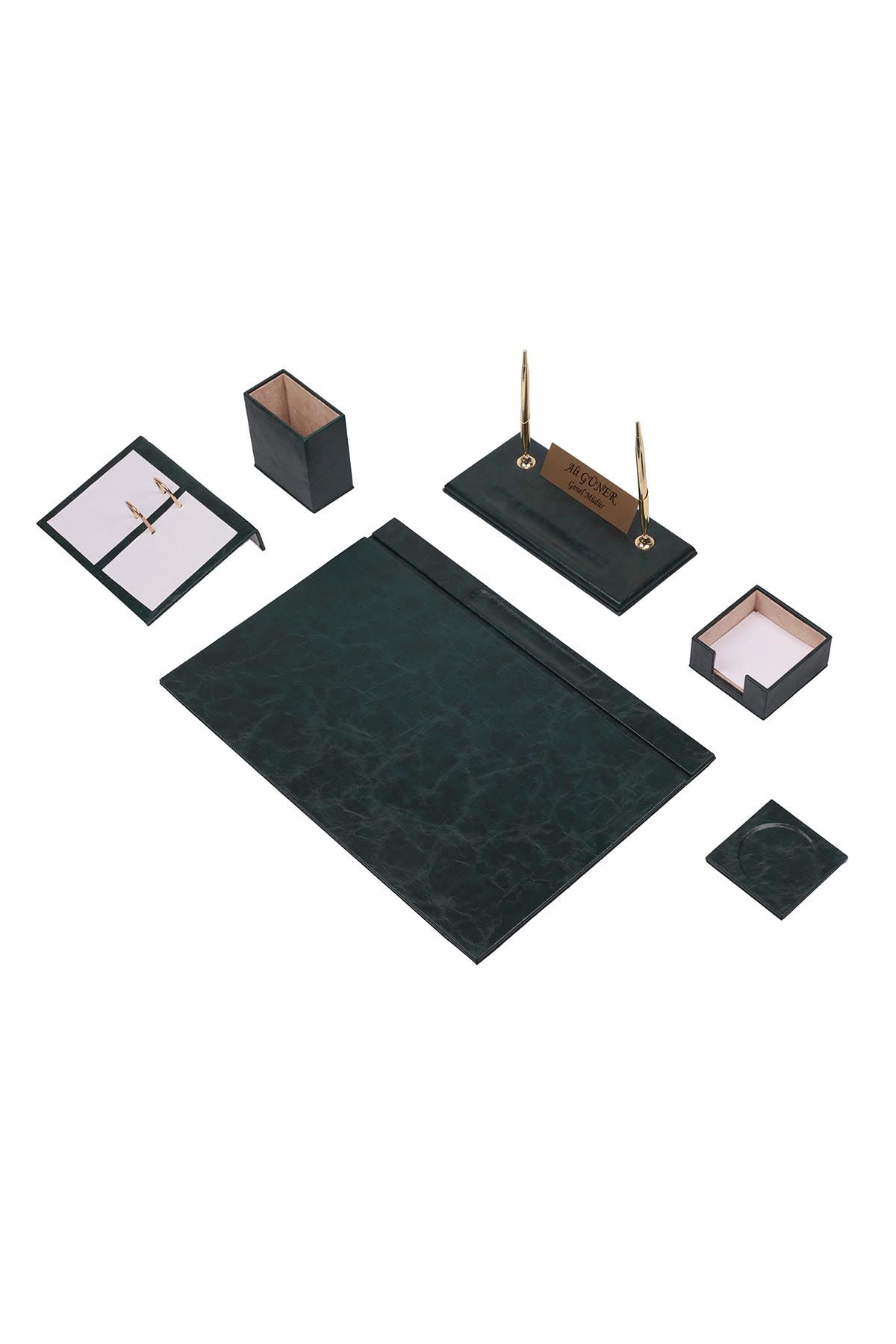 Leather Desk Set 8 Accessories Green