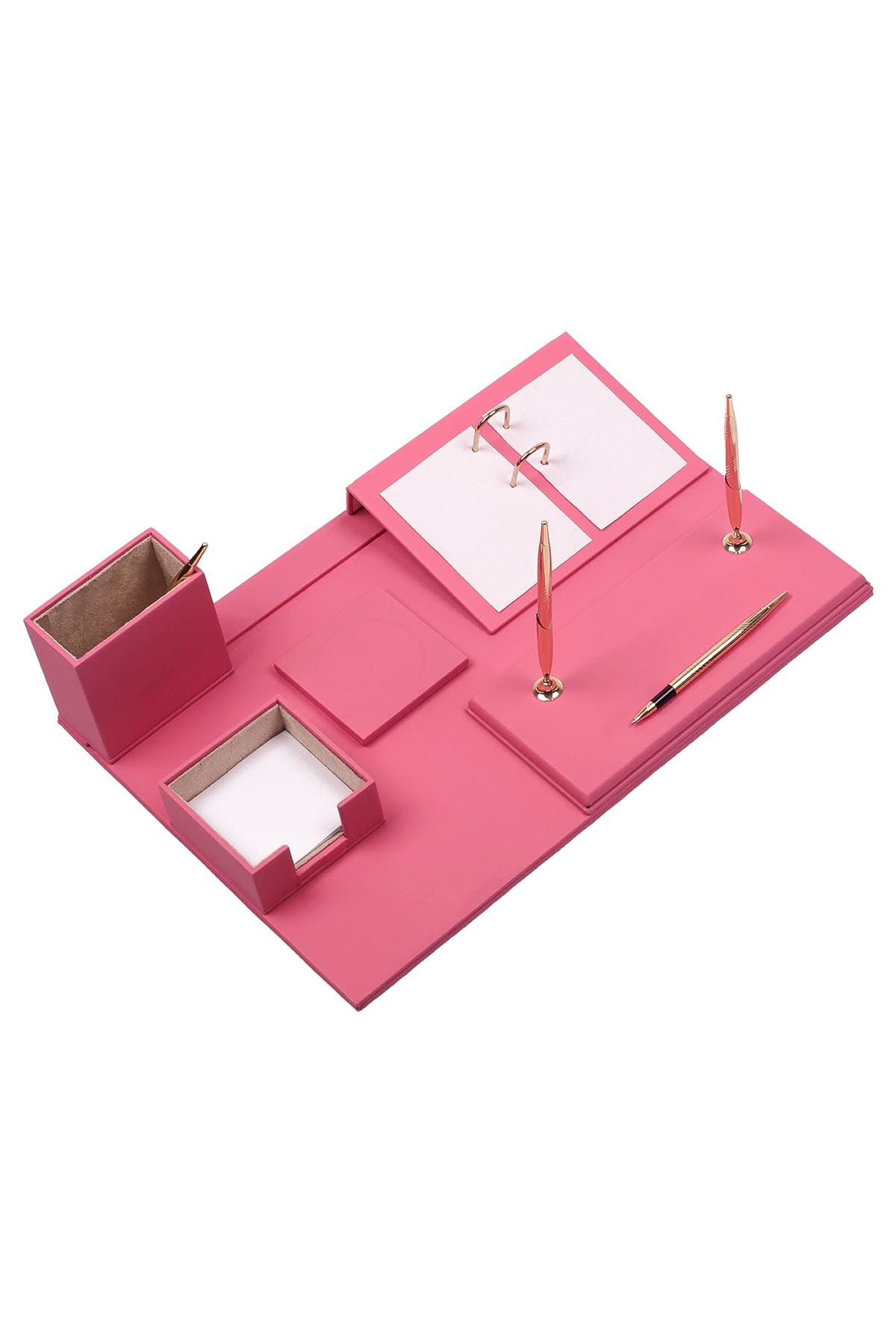 Leather Desk Set 8 Accessories Pink