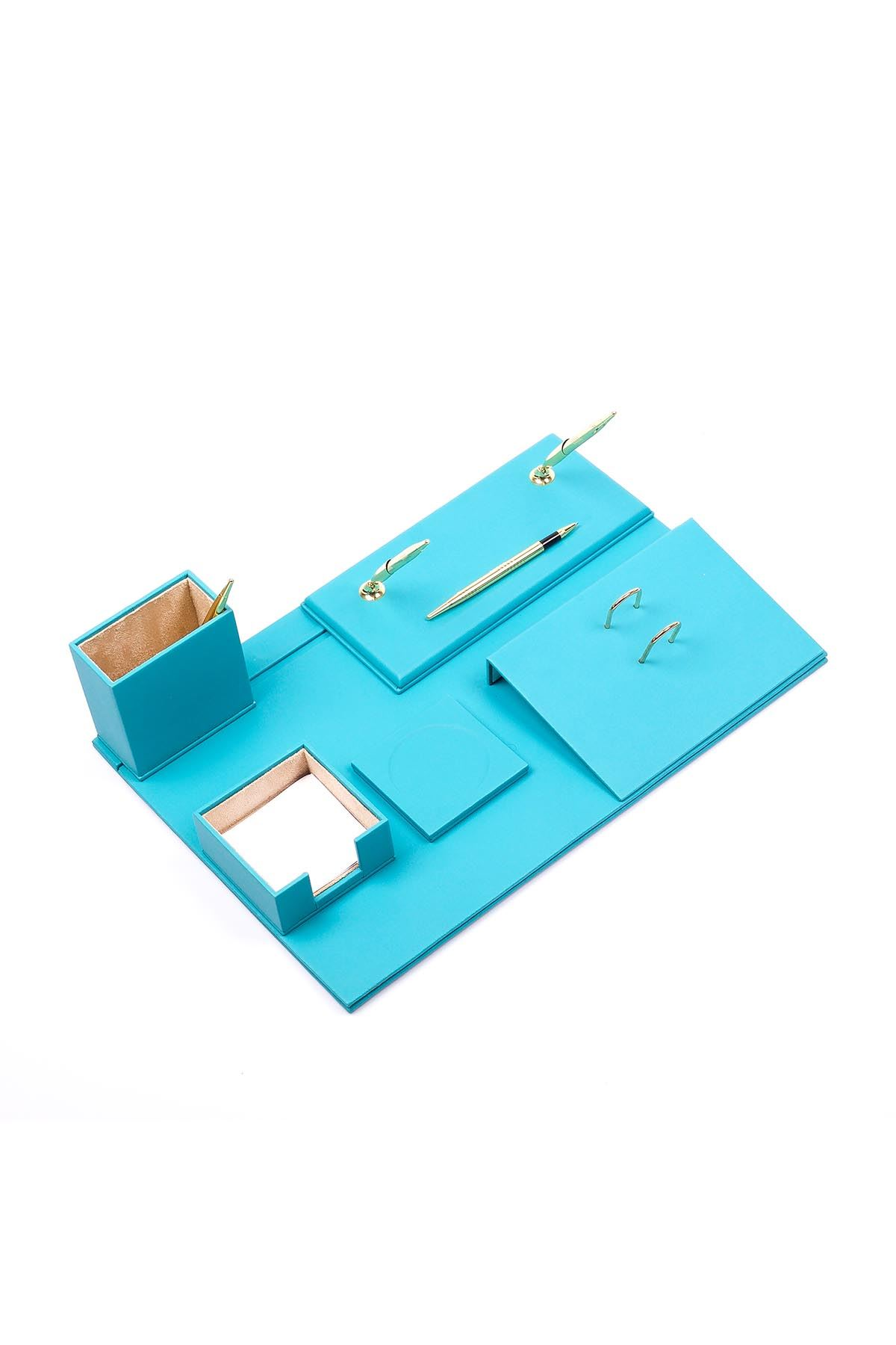 Leather Desk Set 8 Accessories Turquise