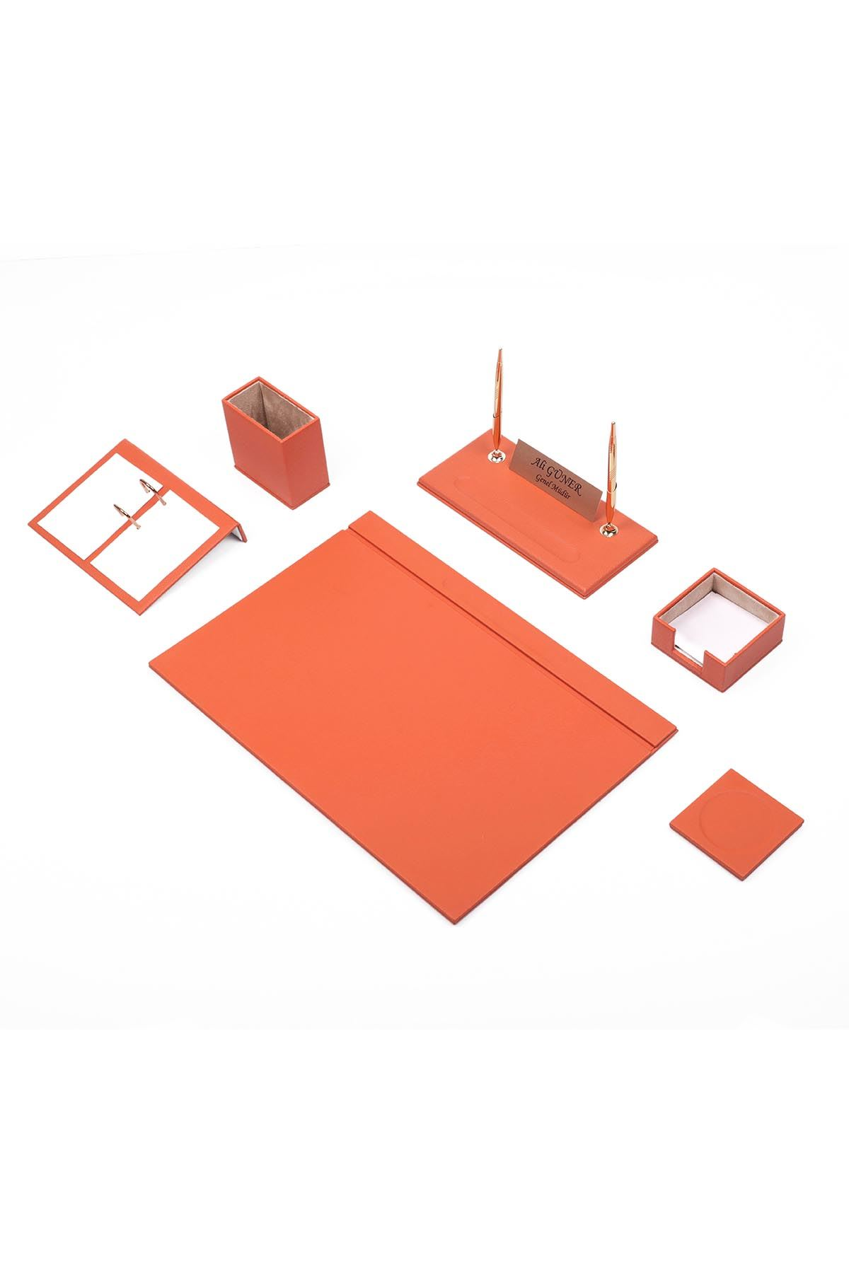 Leather Desk Set 8 Accessories Orange