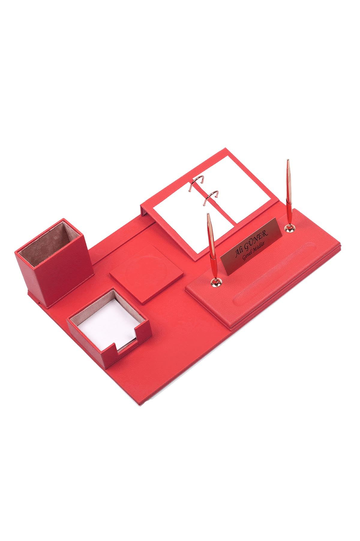 Leather Desk Set 8 Accessories Red