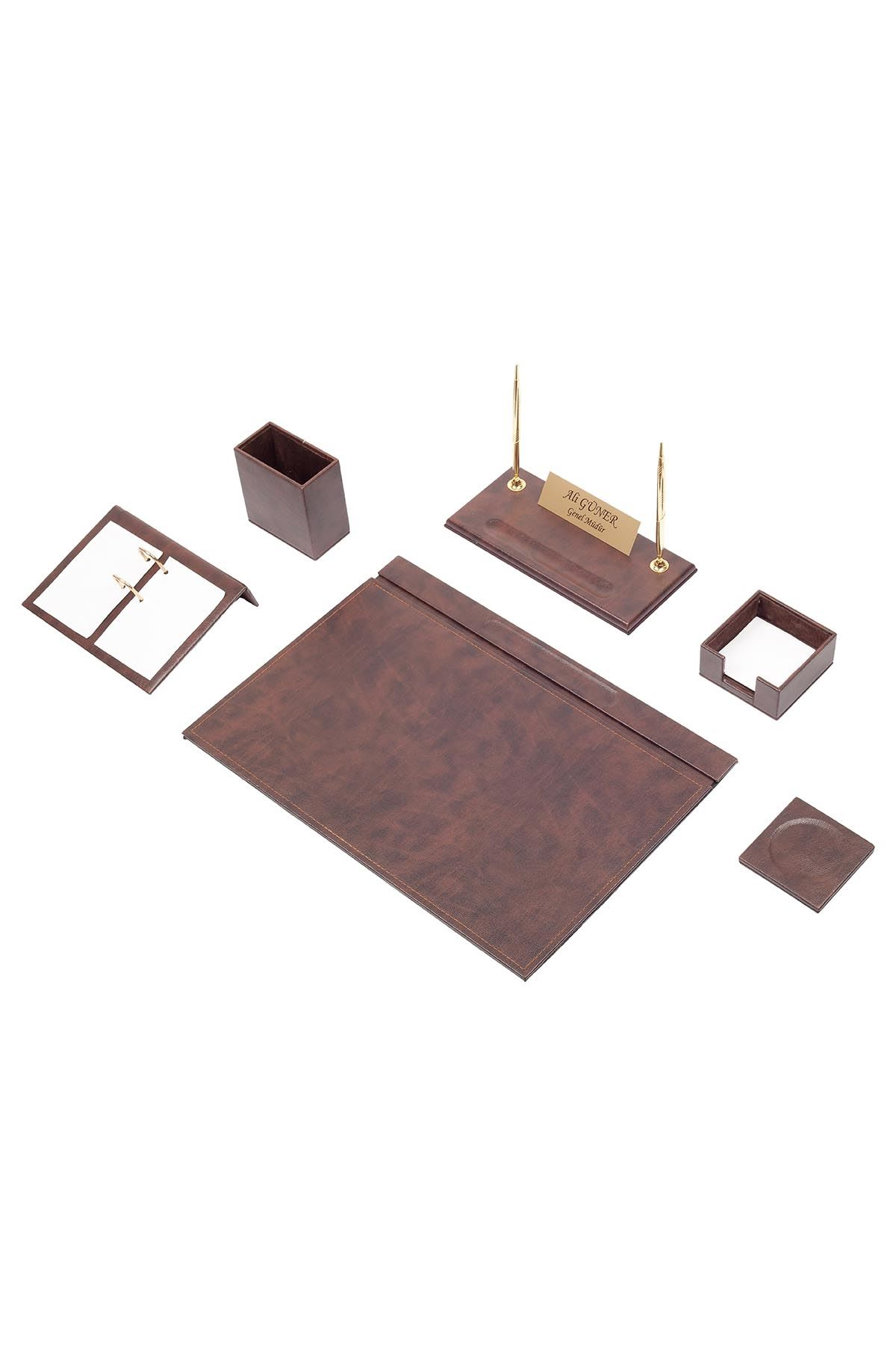 Leather Desk Set 8 Accessories Brown