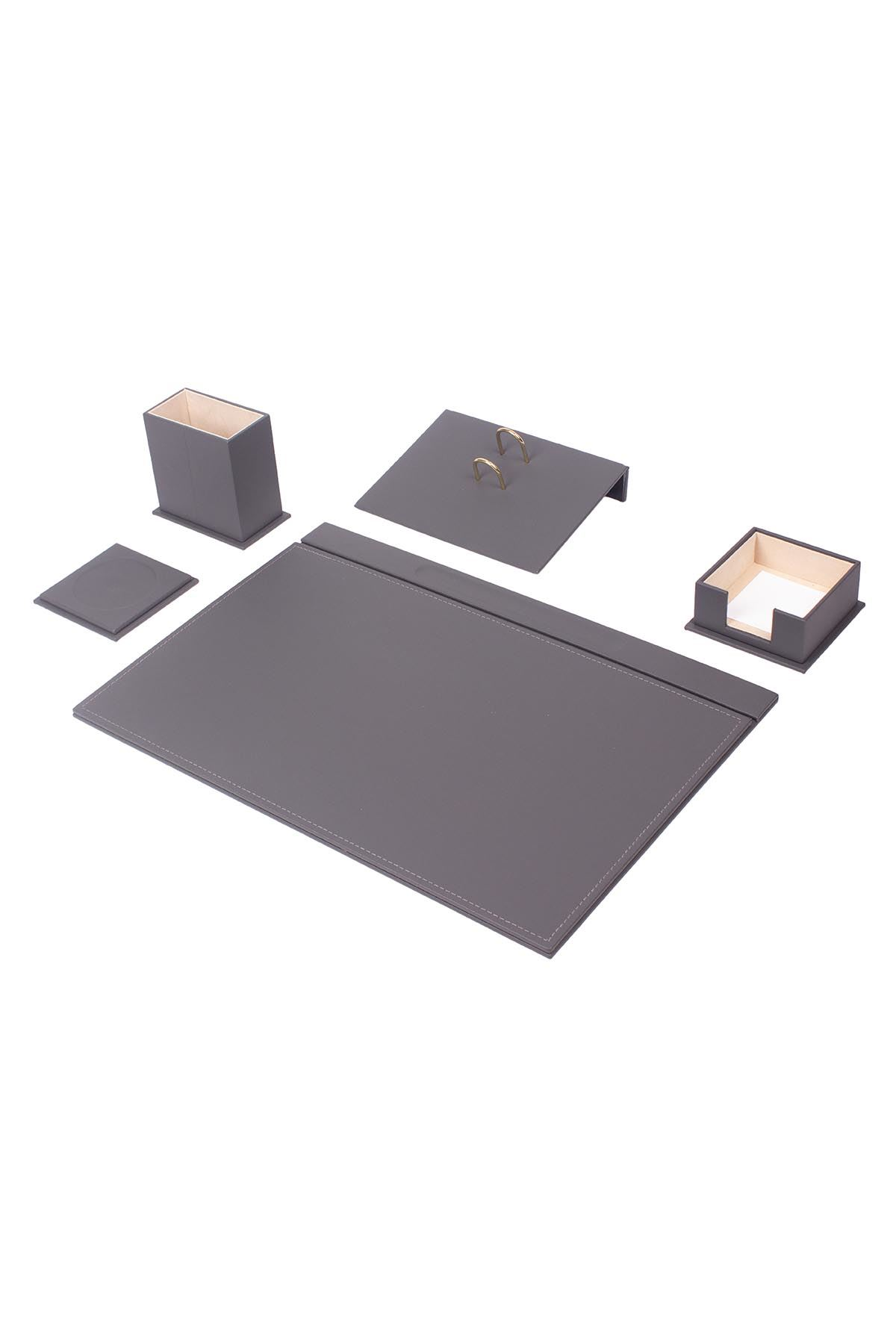 Leather Desk Set 5 Accessories Gray