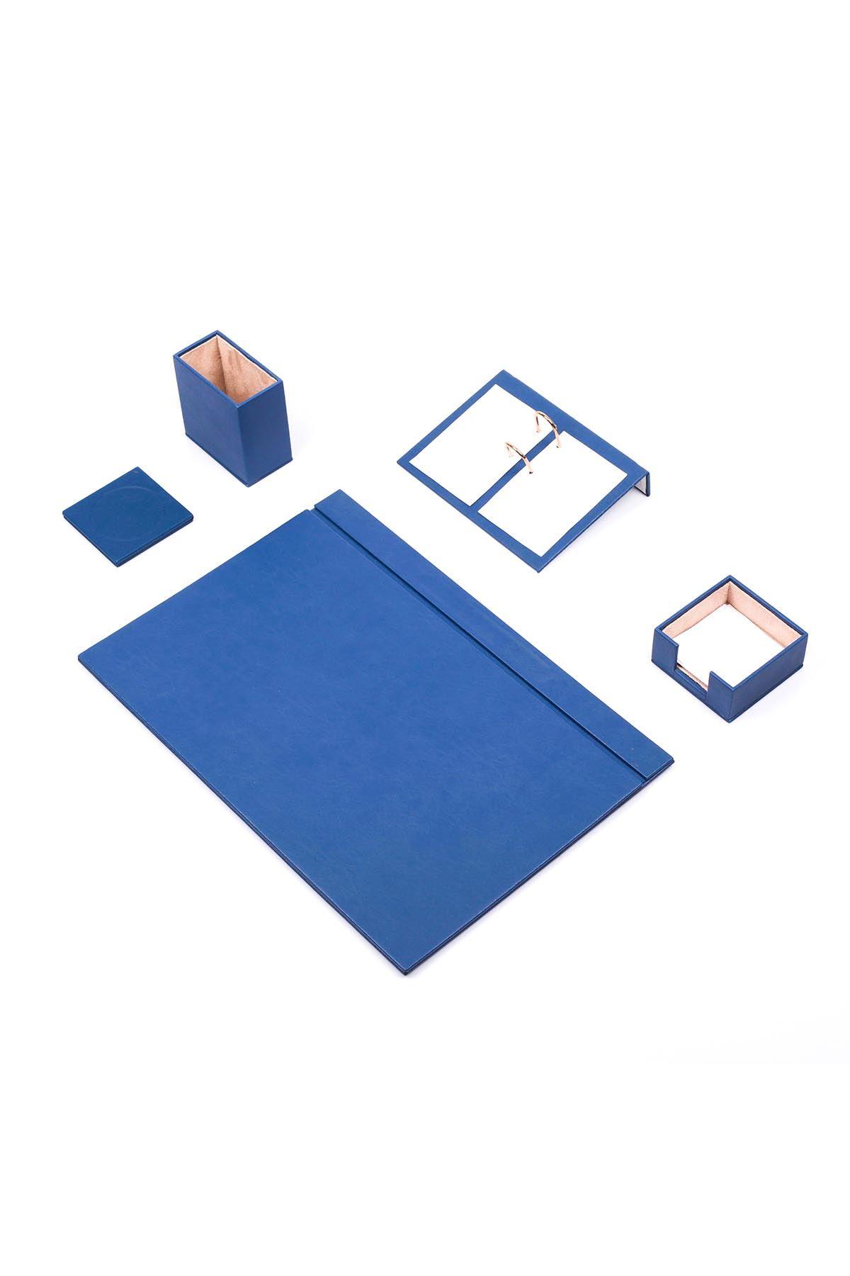 Leather Desk Set 5 Accessories Blue