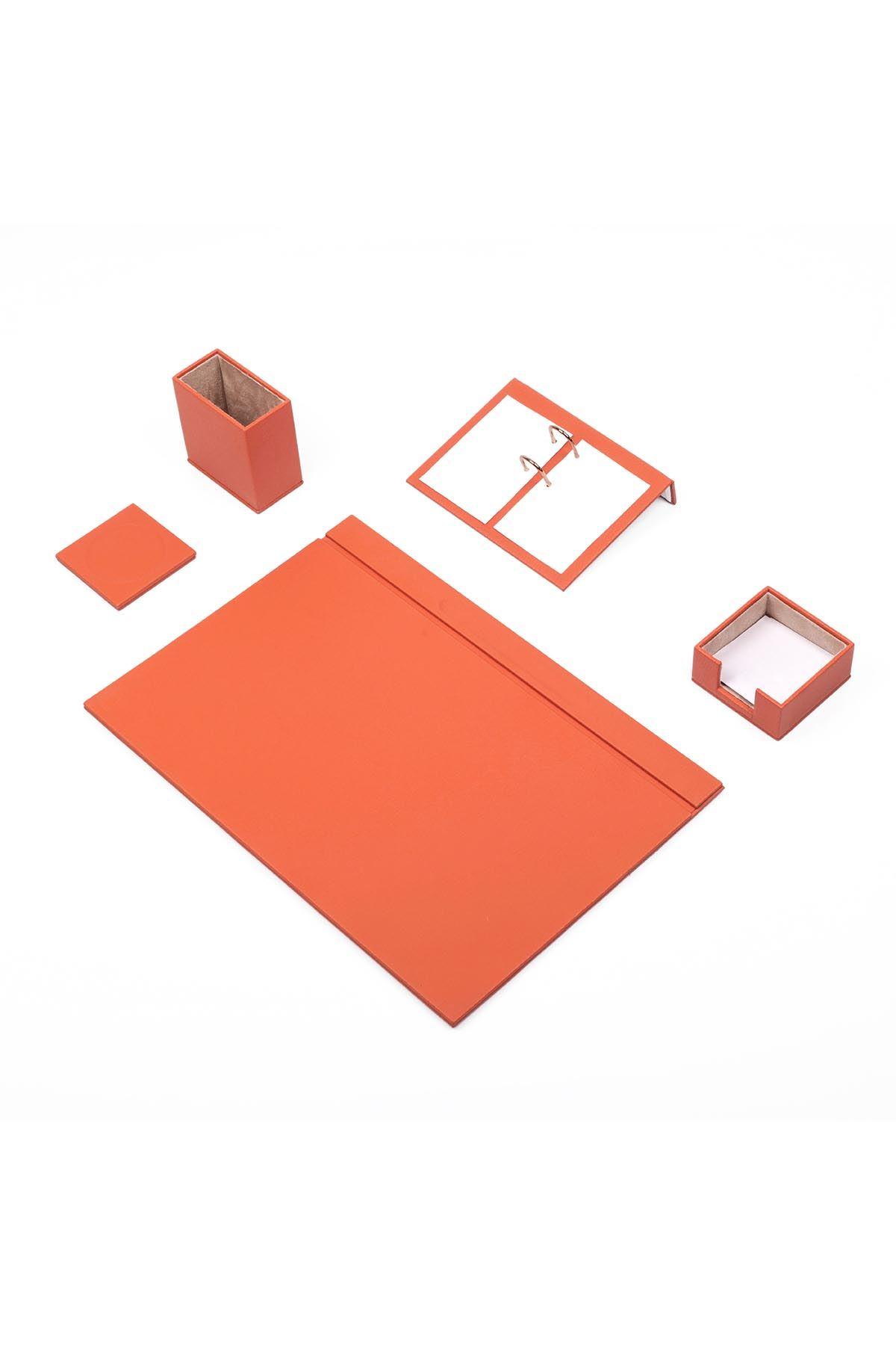 Leather Desk Set 5 Accessories Orange