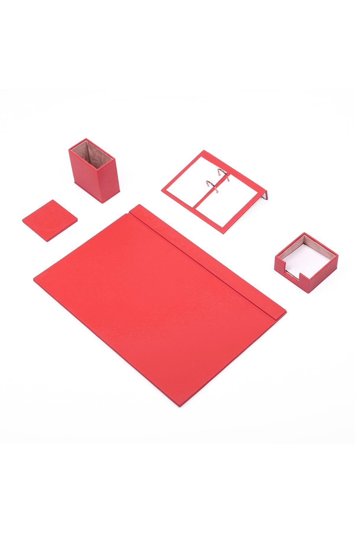 Leather Desk Set 5 Accessories Red