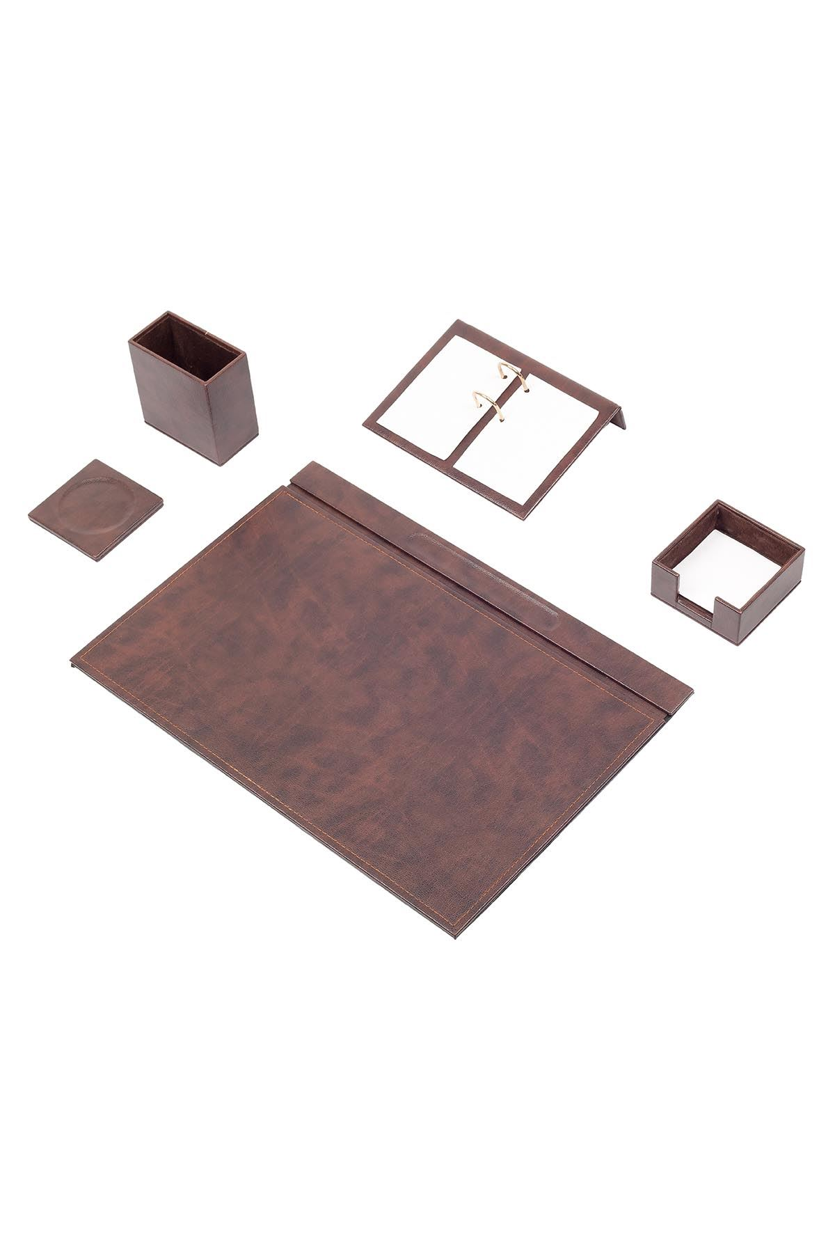 Leather Desk Set 5 Accessories Brown