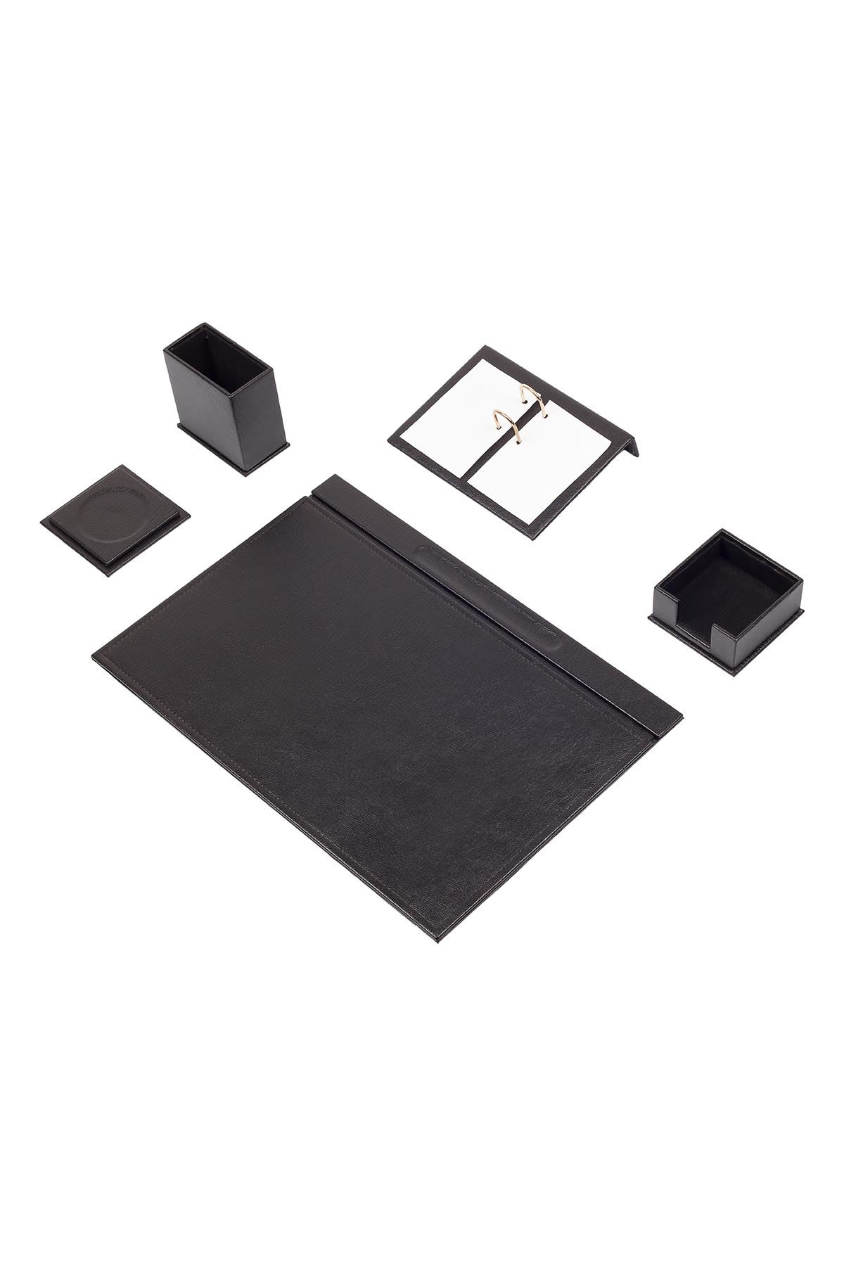 Leather Desk Set 5 Accessories Black