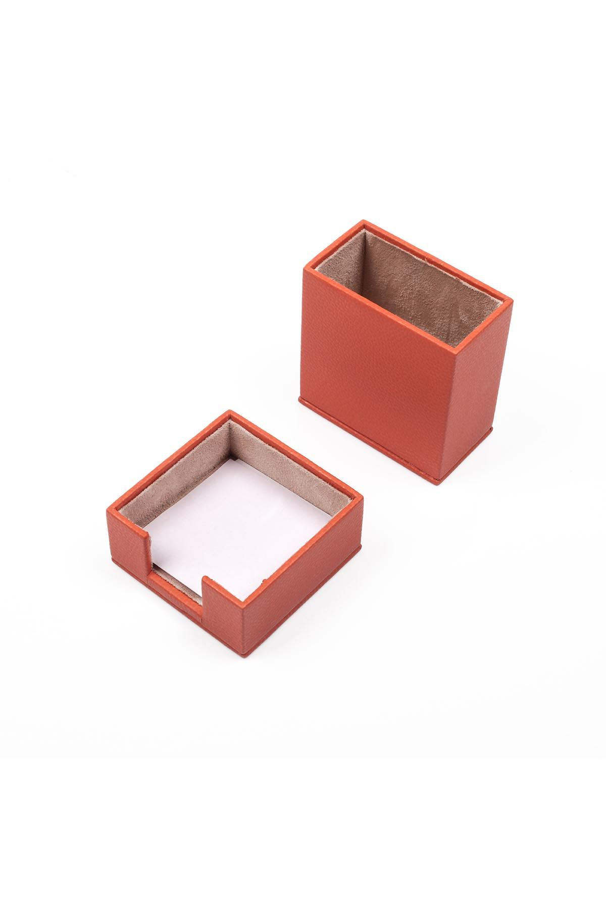Leather Desk Set 4 Accessories Orange