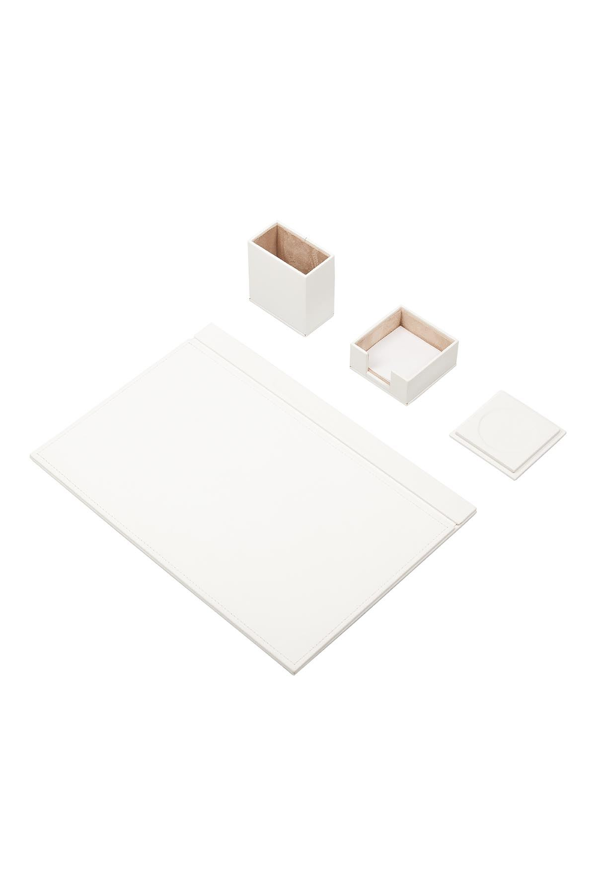 Leather Desk Set 4 Accessories White