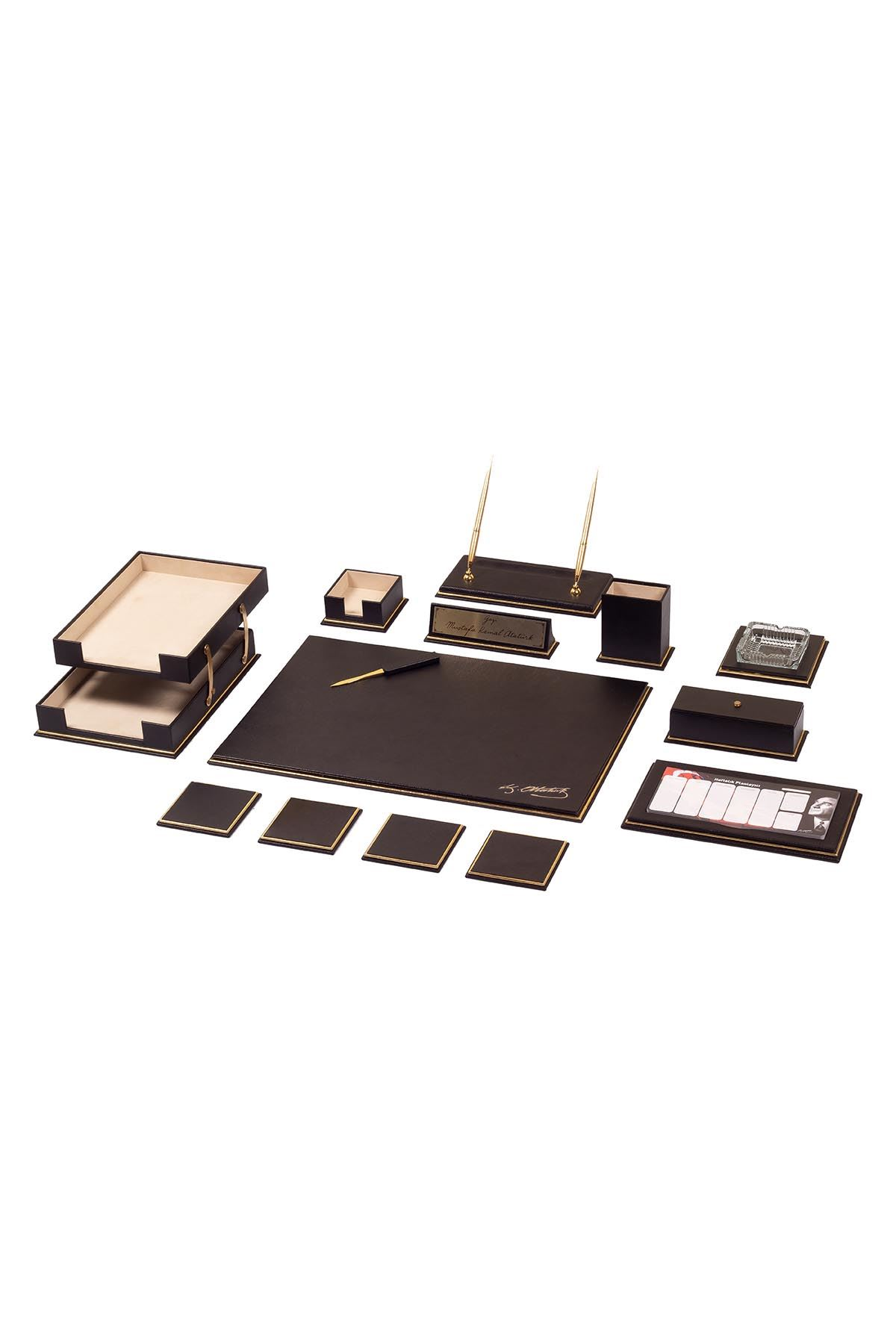 Real Cow Leather Desk Set 15 Accessories